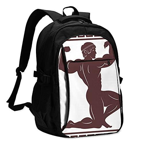 Mochilas para portátil con Usb Antiguos Griegos Fuerza Muscular Mochila de Viaje Colegio Negocio Portátil Bolsa Negro