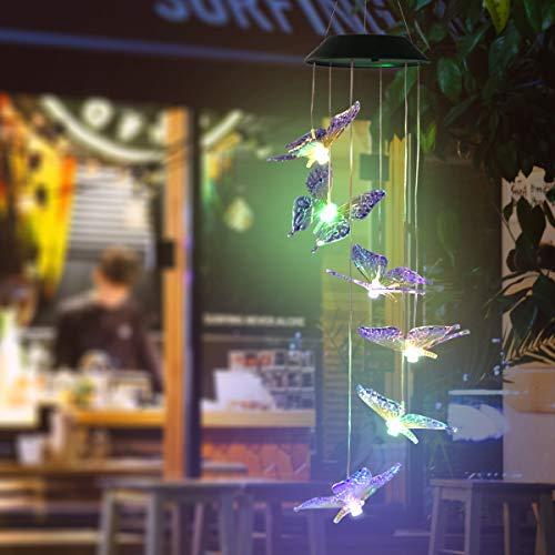 Papillon Carillons Éoliens Solaire Led Changement de Couleur Carillon Éolien Étanche Suspendu Mobile Romantique Vent-Cloche pour Cour Jardin Jardin Couloir Décoration