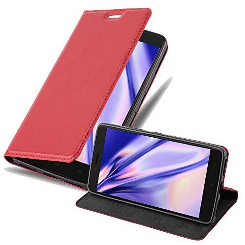 Cadorabo Hülle für Lenovo K6 Note in Apfel ROT - Handyhülle mit Magnetverschluss, Standfunktion & Kartenfach - Hülle Cover Schutzhülle Etui Tasche Book Klapp Style