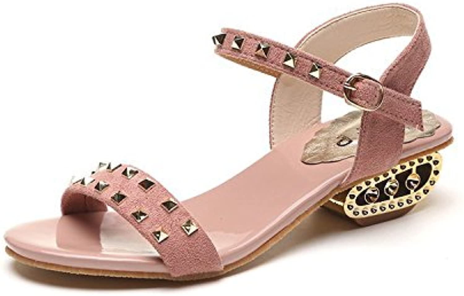 XKNSLX Casual New Sandals Square Root Toes Women's Type Buckles Sequins Fashionable Rome shoes