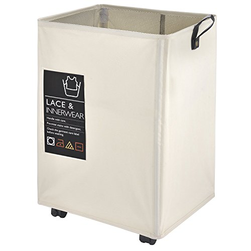 "Rolling Laundry Cart, CAROEAS 22"" Pro Laundry Hamper Waterproof with Big Card Pocket & Leather..."