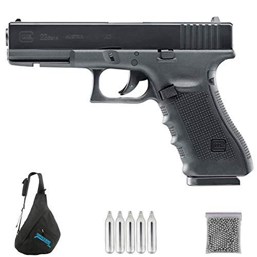 Glock 22 Gen 4 | Pack Pistola de balines (perdigones Bolas de Acero BB's). Arma de Aire comprimido CO2 Calibre 4,5mm <3,5J