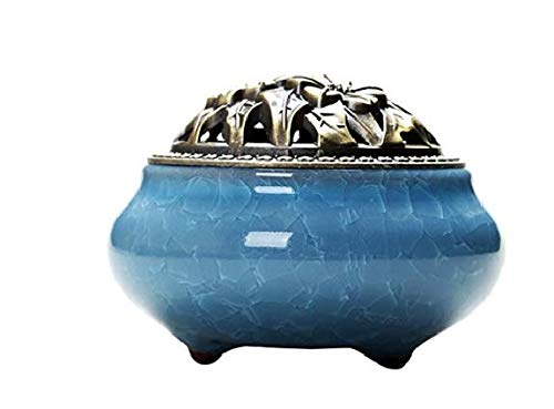 mscuti Incienso con Caja de Incienso de aleación de Calabash Brasero de cerámica con bandejas, Color Azul Cielo