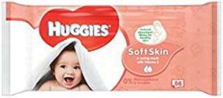 Huggies Baby Wipes Soft Skin Singles 56 - Pack of 2