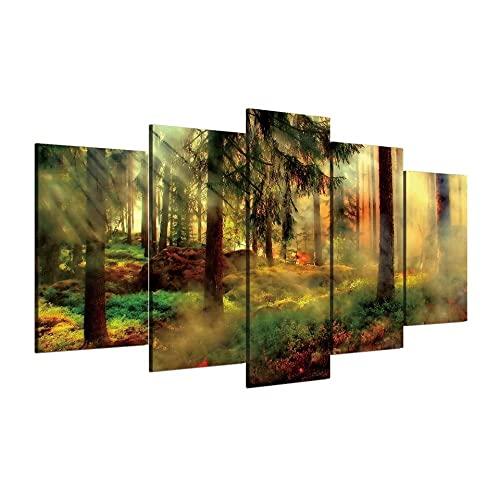 MOXIGE 5 Piezas Cuadros Decoracion Salon Modernos/Cuadros para Dormitorios Modernos Lienzos Decorativos Enmarcado Innovador Regalo Bosque brumoso de la vendimia-200 x 100 cm