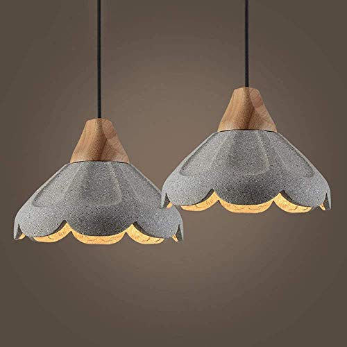E27 Chandelier Light Concrete Hanging Lampshade In Grey Finish Antique Simplicity Minimalist Flush Mount Ceiling Light Fixture2-Pack Vintage Cement Pendant Light Kitchen Island Industrial