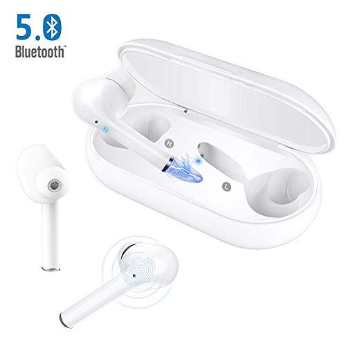 Auriculares Bluetooth 5.0, Auriculares Inalámbricos Bluetooth Mini Deporte Sonido Estéreo Auricular con micrófono y Caja de Carga Portátil para iOS y Android