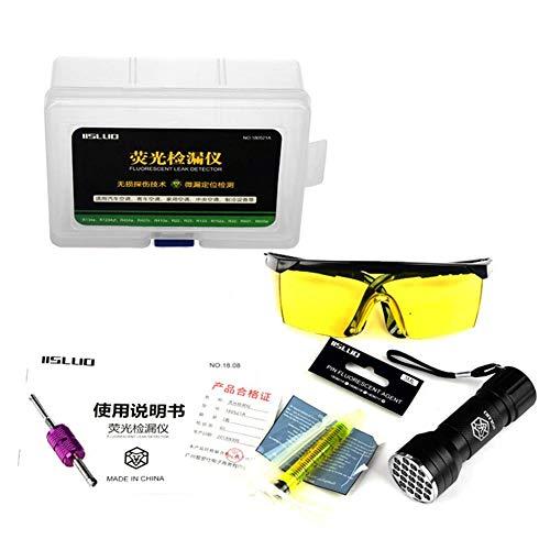 Groust Herramientas De Detección De Fugas De Aire Acondicionado Exactitud Libre De Contaminación Amigable Con El Medio Ambiente Fácil De Usar Linterna UV LED Gafas Protectoras Juego De Herramientas UV