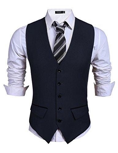 COOFANDY Herren Weste Anzugweste V-Ausschnitt Ärmellose Slim Fit Smoking Frack Herrenweste Herrenanzug Anzug Business Hochzeit(Navy,M)