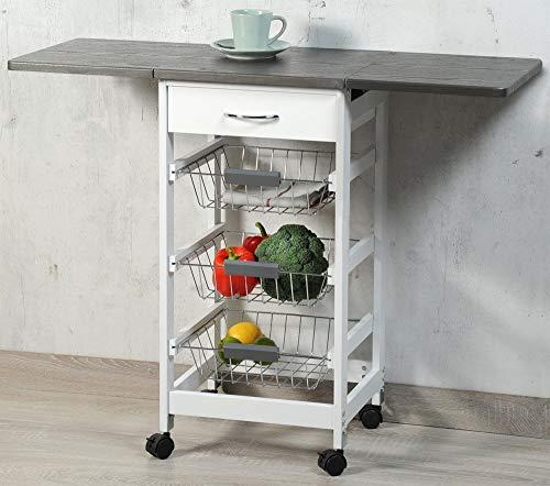 Kesper Mobiler Küchenwagen mit ausklappbarer Arbeitsplatte, 3 Ablage Ebenen, Schublade, Gitterkörbe, ausgeklappt ca. 100 cm, FSC-Holz weiß/grau