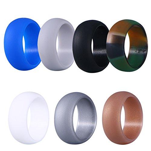 Winomo Lot de 7 alliances en silicone pour homme 20,7 mm (11 camouflage, or, argent, noir, gris, blanc, bleu)