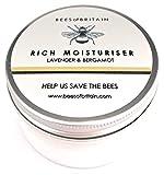 Natural CREMA HIDRATANTE FACIAL - LAVANDA & BERGAMOTA - 100 g - BEES OF BRITAIN - Crema Para Pieles Sensibles, no Irritante. Donamos el 5% de Ganancias Para Ayudar a Salvar Abejas y Polinizadores.