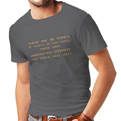 lepni.me Camisetas Hombre Tipos de Personas Que Entienden el código Binario, Chistes de programadores (X-Large Grafito Oro)