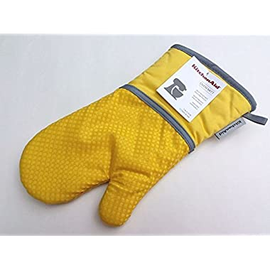 KitchenAid Cotton Oven Mitt, Microfiber Lined, Printed Grid Silicone Grips (Aqua) (Yellow)