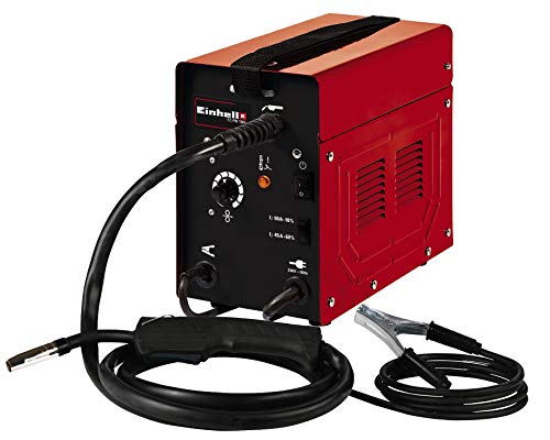 Einhell Equipo soldadura de hilo con núcleo TC-FW 100 (230V, 45-90 A, control de corriente soldadura de 2 etapas, incl. juego de mangueras, cable de tierra, martillo para escoria y pantalla de soldar)