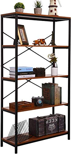 Himimi 4Shelf Industrial Bookcase Wood Open Storage Vintage Bookshelf with Angle Iron Metal Frame Display Rack and Storage Organizer Free Standing Storage Display Shelves for Home Office