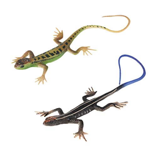 NUOBESTY 2 pcs Animal Models Realistic Fake Rubber Lizard Toy Animal Dolls for Boys and Girls, Animal Model Decorations, Party Supplies Decoration, Toys, Pranks and Props, Tricky Toys