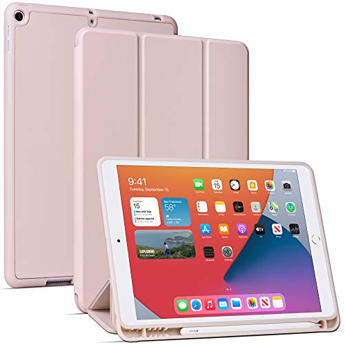 Custodia Migeec per iPad da 10,2 pollici (7a generazione 2019) Copertura in piedi con funzione Auto Wake/Sleep - oro rosa