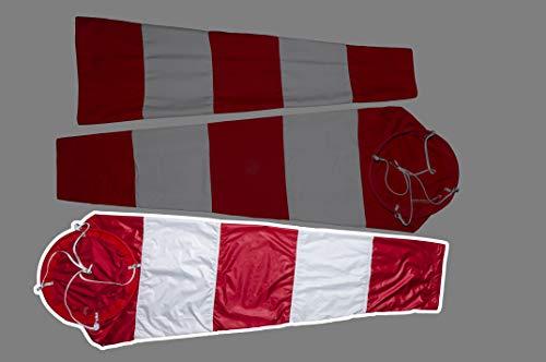 Grigoprint Flughafen Windsack Wind Direction, Windsack für draußen Aviation Wind Sock, Windsack für den Garten Rot Weiß Wind Socke Tasche zur Windmessung (Polyester mit Kreis, 46x200 cm)