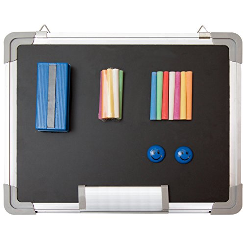 Chalkboard Set - Small Black Board 15 x 12' + 1 Magnetic Eraser, 14 Chalk Sticks (7 Colors) and 2 Magnets - Mini Hanging Wall Message Blackboard for Home Office School