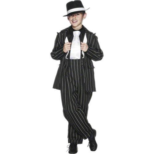 NET TOYS Gangster Kinderkostüm Mafia Outfit schwarz M 140 cm Mafiakostüm Gangster Kinder Kostüm Mafioso Outfit Ganove Gauner Bandit Räuber