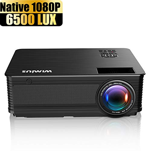Projector, WiMiUS New P18 Native 1080P Projector 6500 Lumens Video Projector 1920x1080 Easy Use Indoor Projector Compatible with USB HDMI VGA AV for PC PS4 Fire TV Stick Chromecast Smartphones