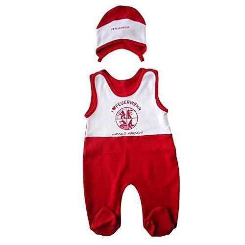 DFV Feuerwehr Baby Strampler + Mützchen weiß rot mit Feuerwehr Signet und I Love Feuerwehr Größe 62-68 aus 100% Baumwolle