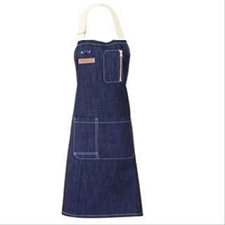 mhde mhde Schürzen Denim Schürze Home Kitchen Chef Kochen BBQ Erwachsene Schürzen Für Frau Männer Verstellbarer Hals Arbeitskleidung Mit Reißverschlusstasche L76 X W72Cm Marineblau