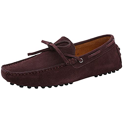Jamron Hombres Suave Gamuza Mocasines de Conducción Zapatos Hecho a Mano Zapatillas Talla Grande Café 3660M EU42