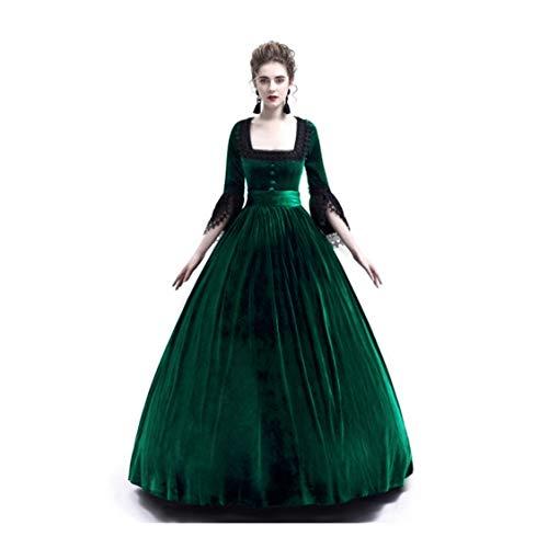 Damen Mittelalterkleid Princess Dress Gothic Kleider Langarm mit Trompetenärmel Spitze Kleider Viktorianischen Königin Kostüme Vintage Renaissance Medieval Erwachsene Cosplay Karneval Fasching Piebo