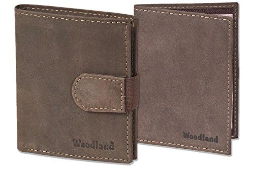 Woodland - billetera Super-compacto con XXL tarjeteros para 18 tarjetas hechas de pieles de ante sin tratar + Scheinetui coches en Brown oscuro/de color topo