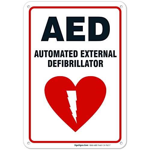 AED Sign, Automated External Defibrillator Sign, 10x7 Rust Free Aluminum, Weather/Fade Resistant, Easy Mounting, Indoor/Outdoor Use, Made in USA by Sigo Signs