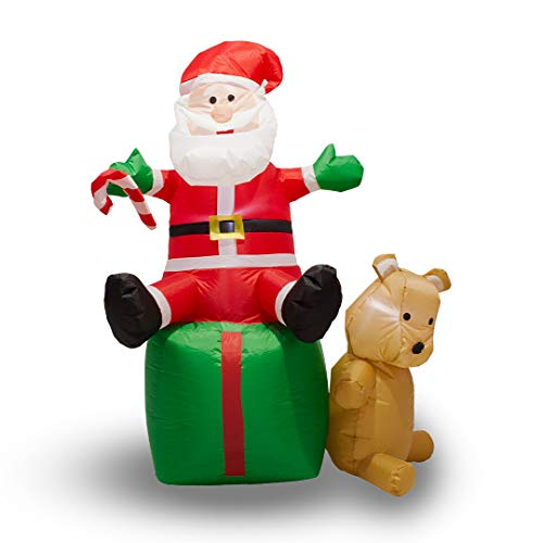Zzapit Inflatable Father Christmas Sitting Santa with LED Lights 1.5m (5ft) Outdoor and Indoor Use
