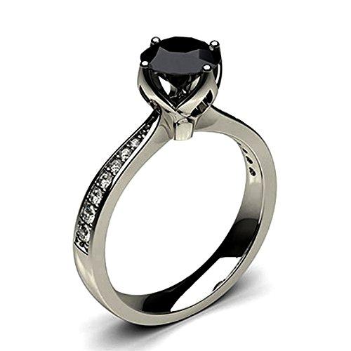 JewelsForum 0.78 Quilates Diamante Negro Anillo De Compromiso Clásico Con Solitario Diamante De Oro Blanco De 14K Para Mujer