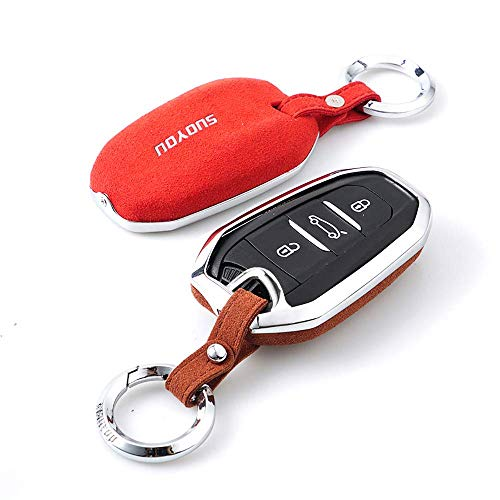 ZSEXDR Cubierta Del Porta Llaves Del Coche, Suede Leather Car Key Fob Protective Case Cover For Peugeot 301 408 508 2008 3008 Citroen C4L C3 Ds5 Ds6 With 3 Buttons-BlackRed