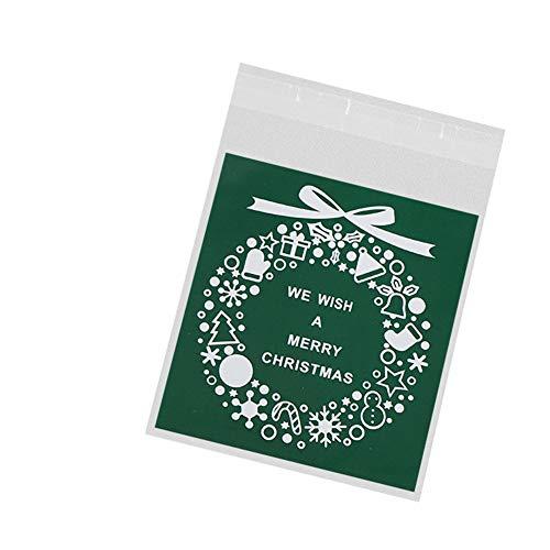 Cosanter 100 Pcs Sac Cadeau de noël Vert Stand Up Pouch réutilisable refermables Grip Seal Sacs de Stockage de Nourriture Sac d'emballage Pochettes