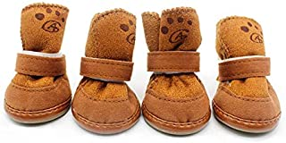Baiepen 4pcs Dogs Snow Boots Winter Warm Soft Cozy Cashmere Walking Running Paws Dog Shoes Anti-Skid Comfortable Puppy Pet...