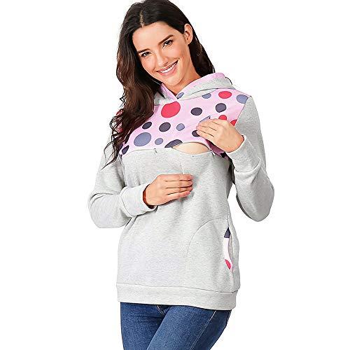 Vrouwen Zwangerschap en Verpleegkundige Hooded Sweatshirts Dot Printed Tops Dames Borstvoeding Vintage Lange Mouw Blouse Pullover Jumper Lente Zwangerschap Geschenken voor Vrouw