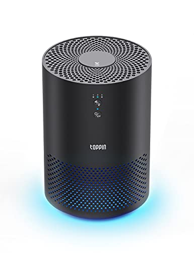 TOPPIN TPAP002 HEPA Air Purifiers for Home with Fragrance Sponge UV Light Pollen Pet Hair Dander Smoke Dust Airborne Contaminants Odors Home Air Cleaner with Filter Night Light, Black