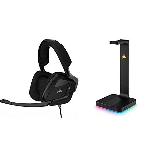 Corsair Void Pro Surround Casque Gaming (PC/PS4/Xbox One, USB 3.5mm, Dolby 7.1) Carbon + Corsair - CA-9011153-EU - ST100 RGB Support pour Casque d'Ecoute Haut de Gamme avec son Ambiophonique 7.1 - Noir