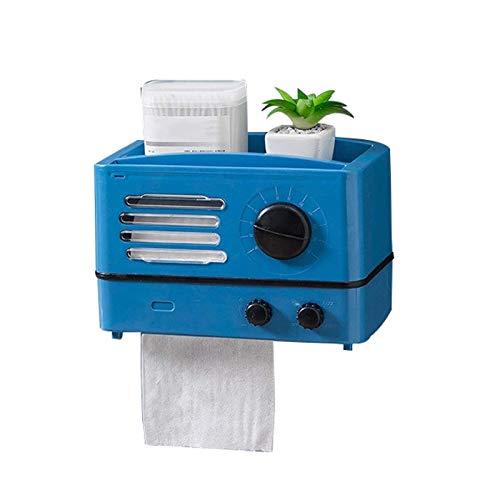 WMLS Toilettenpapierhalter Retro Radio Stil,wasserdichte Kann Wandmontierte oder Aufrecht Multifunktion Tissue Box,Mehrere Farben Verfügbar,Blue