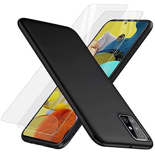 Three-Tree [2 Stück] Panzerglas Schutzfolie + Hülle für Samsung Galaxy A51, 9H Festigkeit Anti-Kratzen Anti-Öl Glas Panzerglasfolie, Ultra Dünn Schwarz Matt Anti-Kratz Handyhülle für Samsung A51