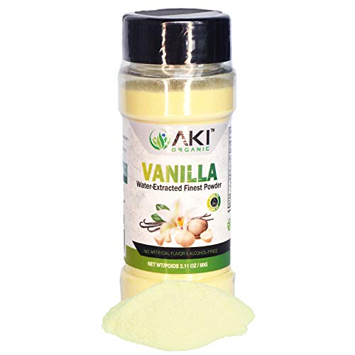 Aki Organic Fine Vanilla Powder Natural Extract From Beans Water Extracted powdered For Baking, Cooking Flavoring, Smoothie, Delicious Powedered Vanila in Coffee, Alcohol Free ( 2.11OZ /60Gr )