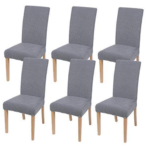 Homaxy Stretch Stuhlhussen Hussen für Stühle Stuhlbezug Waschbar Elastische Moderne Stuhl Esszimmer überzug - Hellgrau, 6er Set