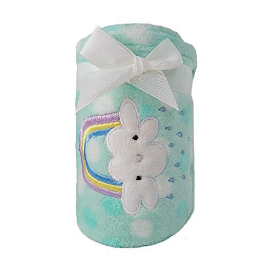 CREVENT Lightweight Fuzzy Fluffy Warm Plush Baby Blanket for Infant Toddler Newborn Unisex Crib Cot Stroller ( 75cmX100cm Green Rainbow Unisex)
