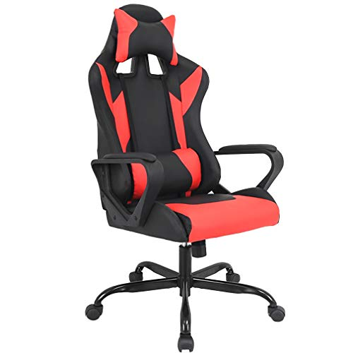 BMS PC Gaming Ergonomic Office Chair Executive PU Leather High Back Computer Chair Racing Desk Chair with Lumbar Support Armrest Rolling Swivel Chair for Women Adults, Red chair gaming red