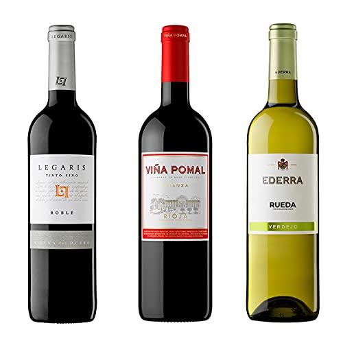 Pack degustación Vinos de España – Legaris Roble Vino Tinto DO Ribera del Duero + Viña Pomal Crianza DOCa Rioja + Ederra Verdejo Vino Blanco DO Rueda - 3 x 75 cl