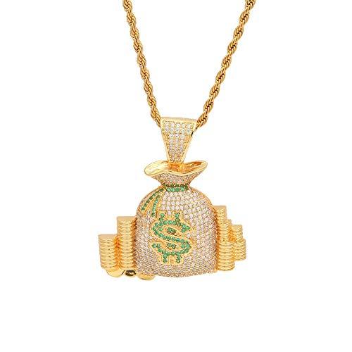 GYXYZB portemonnee bitcoin hanger goud zilver roségoud kleur micro geplastificeerd zirkonia punk sieraden