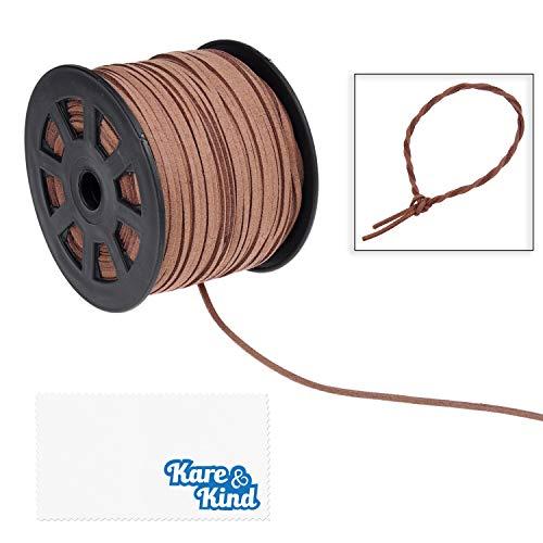 Kare & Kind 100 Yards Suède Koord - Kant 2.6 mm x 1.5 mm - Kunstlederen touw - voor geschenkverpakking, kralen, sieraden, ketting, armband - draad voor handgemaakte ambachtelijke DIY items - Koffie 1 rol met spoel