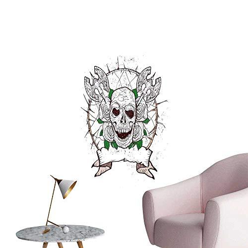 Jaydevn Calavera Arte Decoración 3D Mural de Pared Pegatinas Scary Montaña Cabra Animal Cráneo Ilustración en Colores Oscuros Cuernos Muertos Wild Nature Hombre Habitación Pared Gris Blanco